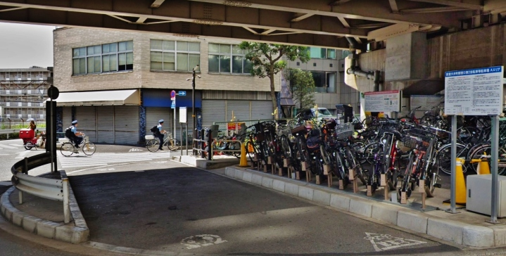 Oimachi bike parking under a highway police